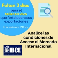 ¡Solo falta 3 días! Taller: Condiciones de Acceso de Mercado Internacional