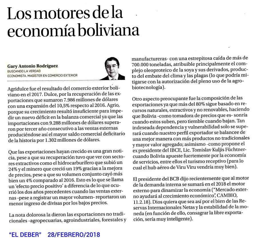 Los motores de la economía boliviana