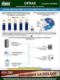 Bolivia: Importaciones de electrodomésticos <br>de línea blanca
