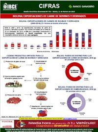Bolivia: Exportaciones de carne de <br>bovinos y derivados