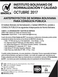 ¡Últimos días! Consulta Pública Anteproyecto de Norma Boliviana