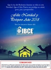 Feliz Navidad y un Próspero Año Nuevo 2018 les desea el IBCE