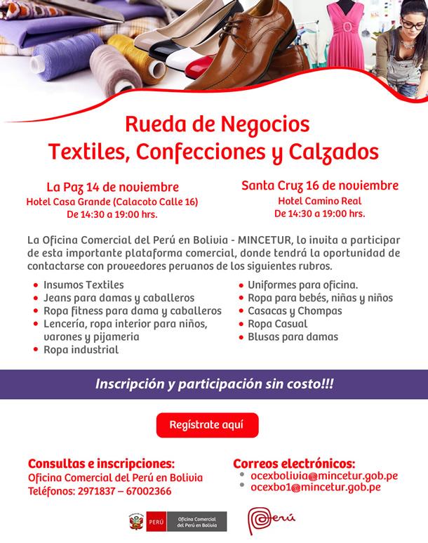 Rueda de Negocios Textiles, Confecciones y Calzados - La Paz, 14 de noviembre y Santa Cruz, 16 de noviembre