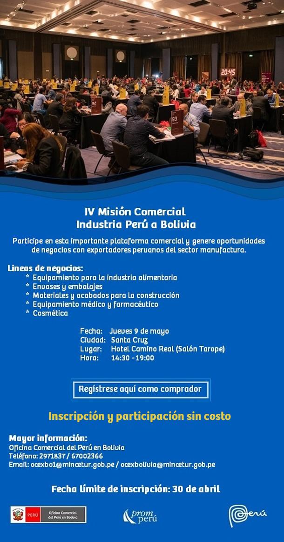 IV Misión Comercial Industria Perú a Bolivia   Jueves 9 de Mayo   Santa Cruz, Bolivia