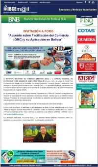 INVITACIÓN A FORO: Acuerdo sobre Facilitación del Comercio (OMC) y su Aplicación en Bolivia