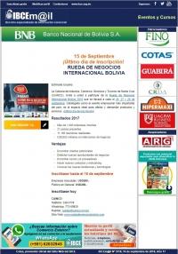 ¡Último día de inscripción! RUEDA DE NEGOCIOS INTERNACIONAL BOLIVIA