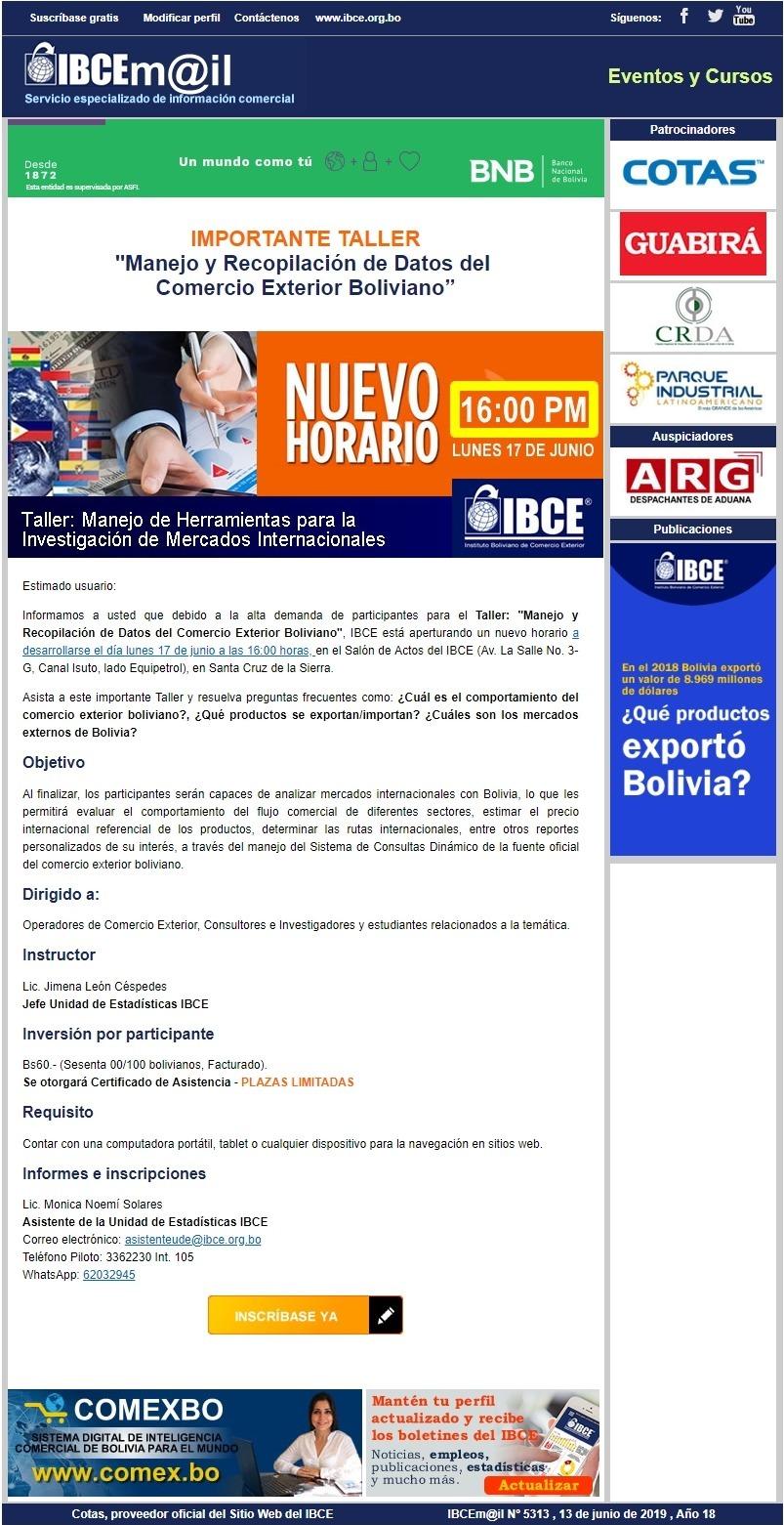 NUEVO HORARIO - Taller: