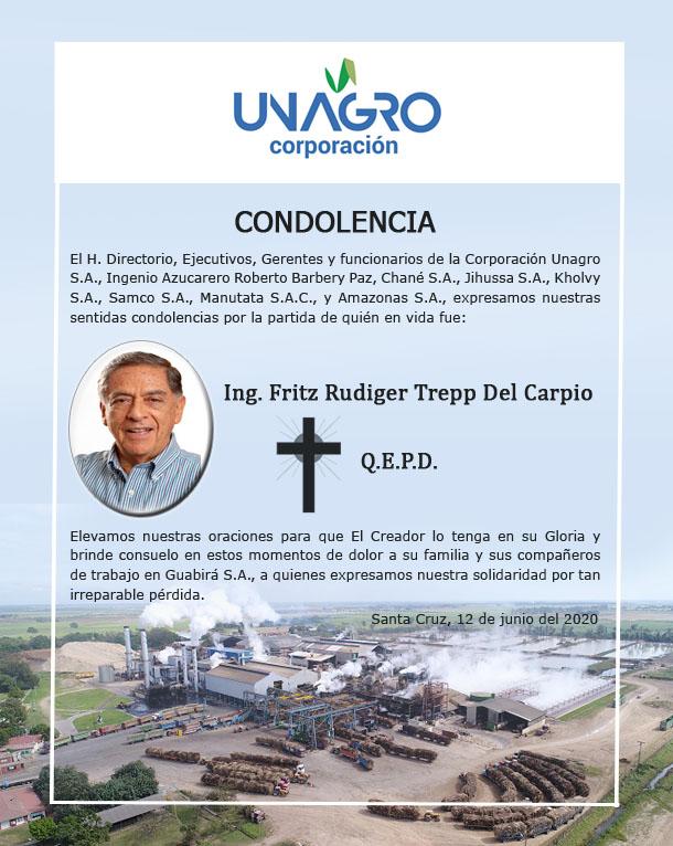 CONDOLENCIA CORPORACIÓN UNAGRO - Ing. Rudiger Trepp del Carpio (QEPD)