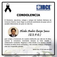 CONDOLENCIA IBCE - Alcides Andrés Quispe Janco (QEPD)