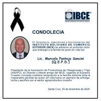 CONDOLENCIA IBCE - Lic. Marcelo Pantoja Soncini (QEPD)