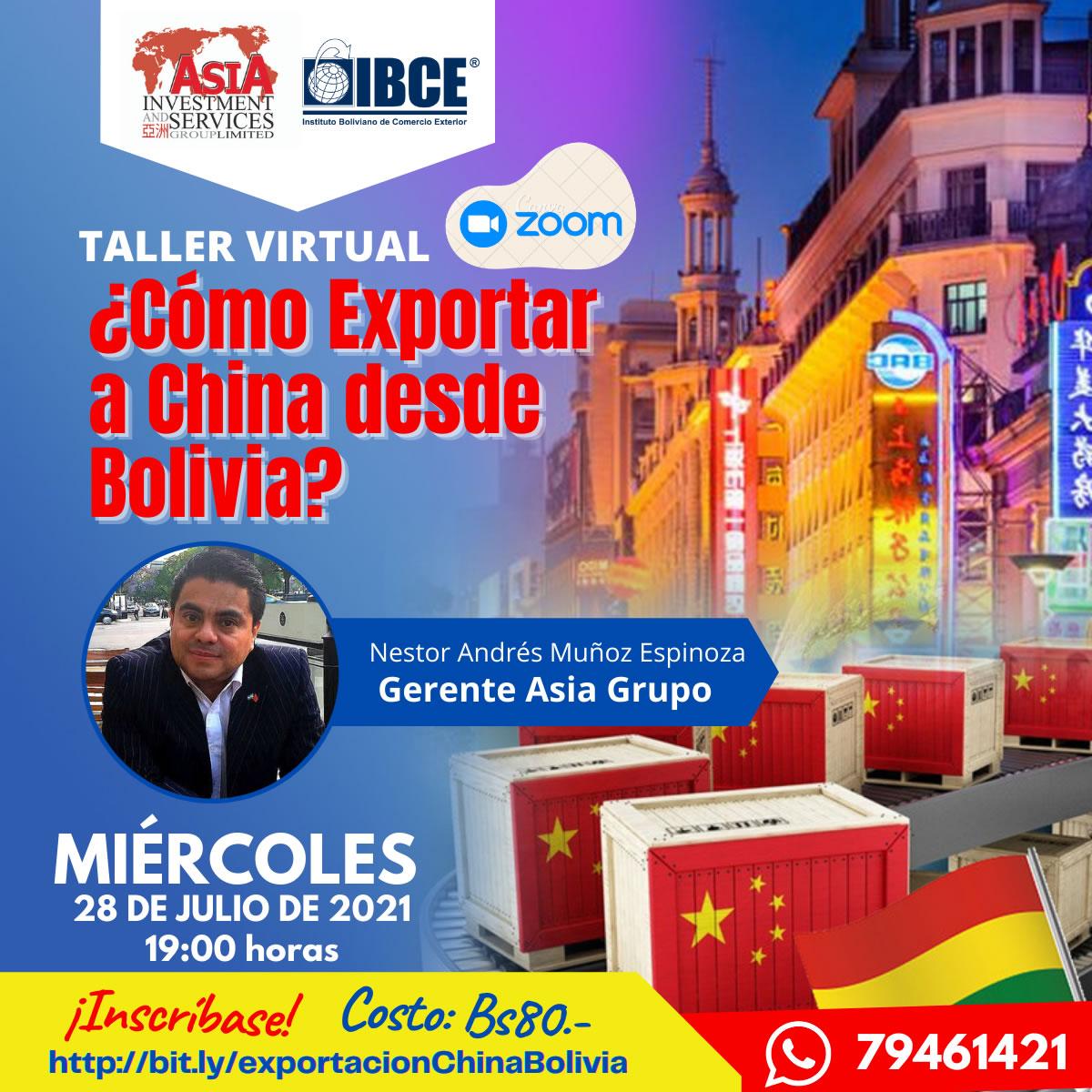 Taller Virtual ¿Cómo exportar a China desde Bolivia?
