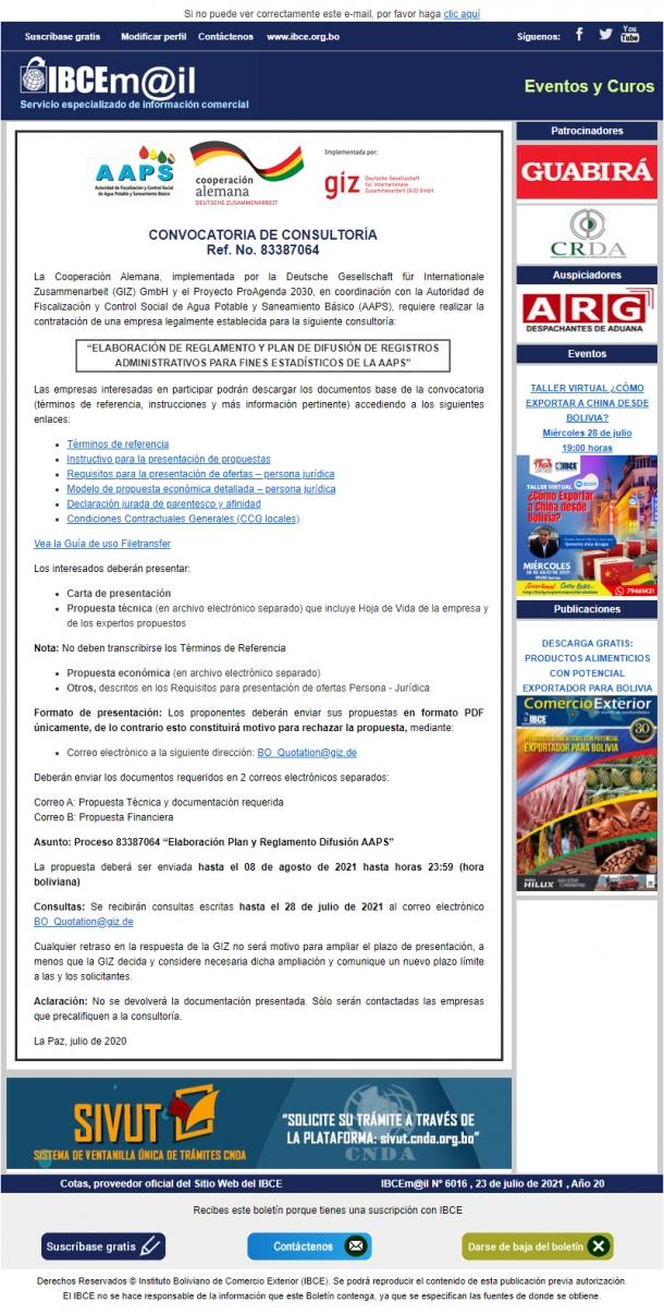 CONVOCATORIA DE CONSULTORÍA: Elaboración de Reglamento y Plan de Difusión de Registros Administrativos para Fines Estadísticos de la AAPS