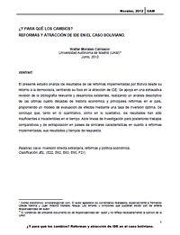 ¿Y para qué los cambios? Reformas y Atracción de IDE en el Caso Boliviano