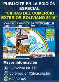 Publicite en la edición estrella 'Cifras del Comercio Exterior Boliviano 2018'
